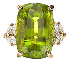 Peridot, Diamond, Gold Ring.