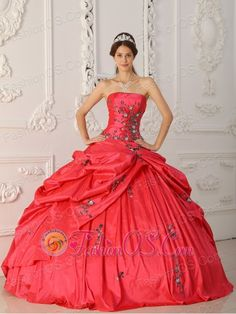 Popular Red Quinceanera Dress Strapless Taffeta Appliques Ball Gown  http://www.fashionos.com  http://www.facebook.com/quinceaneradress.fashionos.us  The fabulous quinceanera gown features a stylish strapless neckline. Exquisite plum embroidery adorns on the corset bodice. Exclusive pick ups gathered at the hips on the ball gown skirt make the dress beautifully shaped. Similar embroidery scattered sparsely on the skirt. A mix of fashional and classic style.
