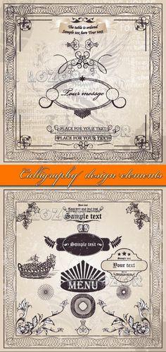 Calligraphy design elements vector - Beautiful graphics free