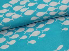 Sonderaktion nur 12,90/m.  Leichter elastischer Baumwollfrottee (gestrickt) türkis mit Fischmuster, sehr angenehm zu tragen, Rückseite weiss, glatt gestrickt. Gut geeignet für viele...