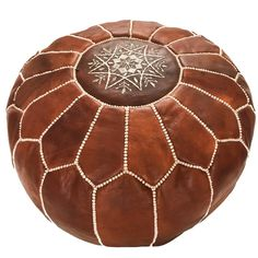 Light Brown Moroccan Leather Pouf - Rug & Weave - 1