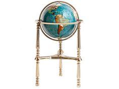 17 Inch Gemstone Globe With Marine Blue Color Ocean High 3 Leg Gold Color Ambassador Stand