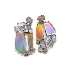 Nikki Couppee. Earrings: Hologem Palms, 2016. Plexiglass, brass, sterling silver, fine silver, found objects, vinyl.