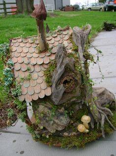 OOAK Treibholz FAIRY Haus unmöbliert Puppenhaus von J.