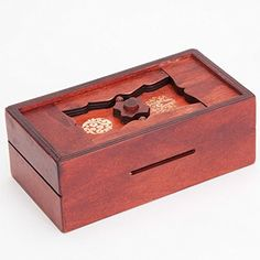No one will be able to get to your savings using this clever box. Slide your coins and bills through the money slot then look for the challenging solution to open it. Made of pinewood with a rich w…