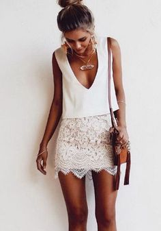 White Plain Lace 2-in-1 Plunging Neckline Fashion Polyester Mini Dress