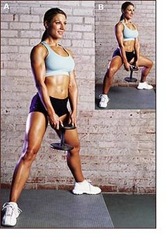 Sumo Squat. Use a kettlebell or dumbbell. This move is great for toning your legs and butt.   Love these!!!