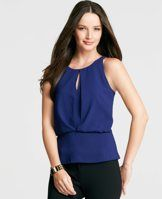 Tall Keyhole Peplum Shell - A keyhole detailed cutaway front puts a modern spin on this wear-with-all shell, confidently cast for the season in fine fabric and fresh new colors. Jewel neck. Sleeveless. Front overlay with shirred waist and bottom hem band. Hidden back zipper.