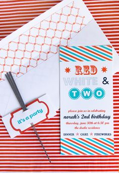 Red, White & Two party invites. Very cute :)