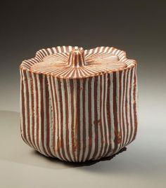 LNT Osamu Suzuki (Kura) (Japanese: 1934) ? - Vertical striped white shino glazed water jar in the form of a cherry blossom, 1988 - Textured white shino glazed stoneware