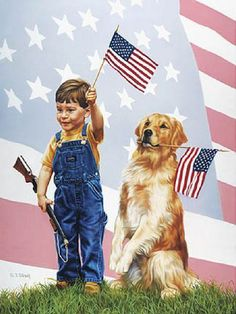United We Stand..nothing more American than a boy and his dog!