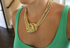 DIY Golden Knot Necklace