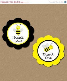 50% OFF SALE Printable Thank You Tags - DIY Bumble Bee Party Favor Tags - Yellow Black - Instant Download