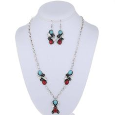 Navajo Jewelry Set Turquoise Coral Necklace Earrings