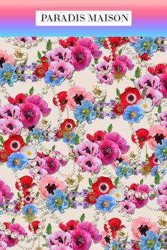 French Poppy Flower Fabric from Paradis Maison Poppy Flower Decor & Pillows