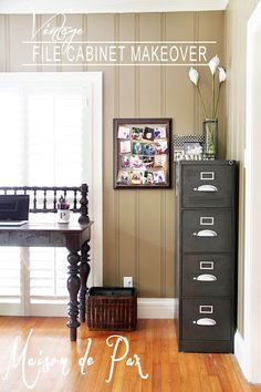 Filing cabinets can be gorgeous when decorated with care! http://www.shoplet.com/Fireking-Four-Drawer-Vertical-File/FIR42125CBL/spdv