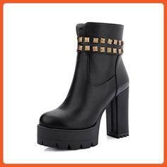 Women's Zipper High-Heels PU Solid Low Top Boots Black 42