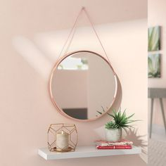 Mirror With Glass Shelves Mirror With Shelf, Round Wall Mirror, Round Mirrors, Circle Mirrors, Sunburst Mirror, Rose Gold Mirror, Rose Gold Wall Decor, Circular Mirror, Decorating Rooms