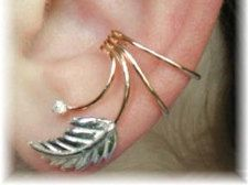 Leaf w/CZ Ear Cuff  sterling silver and gold by ChapmanJewelry