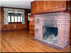 """""""Renovating My Beach House"""" really should be titled """"How I Finally Convinced My Husband To Let Go of the Stained Wood Walls"""". You see men l. Knotty Pine Paneling, Knotty Pine Walls, Fireplace Remodel, Brick Fireplace, Fireplace Update, Home Renovation, Home Remodeling, Knotty Pine Kitchen, Farmhouse Family Rooms"""