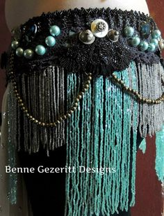 buttons & fringing & beads & sequins. It's got it all & then some - Uniting Ages Tribal Fusion Belly dance belt