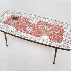 Brass and Mosaic Coffee Table by Berthold Muller Oerlinghausen Mosaic Coffee Table, Mosaic Tables, Stone Mosaic Tile, Mosaic Art, Table Furniture, Furniture Design, Mosaic Patterns, Mid Century Modern Design, Cocktail Tables