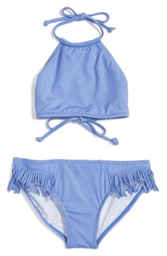 The cutest Billabong swimsuit for a girl. Fringe detailing on the bottoms is a trendy touch. Perfect for spring break or summer pool parties. Top ties behind neck and at back.
