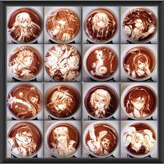 Dangan Ronpa coffee art.