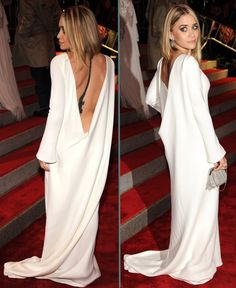 Ashley Olsen - Blouson Sleeve Open Back White Gown
