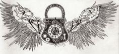 Steampunk Tattoo Design by thegreatkait on deviantART padlock wings key hole ~A.R.