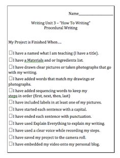 Procedural Writing Ideas for Kids