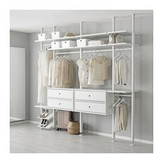 ELVARLI 4 sections, white. ELVARLI storage system adapts to your space. The open solution with durable bamboo shelves creates an attractive display of your belongings. Ikea Closet, Closet Bedroom, Bedroom Storage, Closet Space, Closet Doors, Elvarli Ikea, Bamboo Shelf, Open Wardrobe, Corner Wardrobe