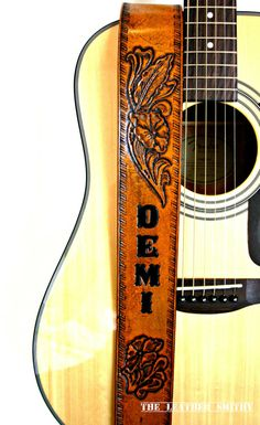 Western Flower Custom Leather Guitar Strap by TheLeatherSmithy