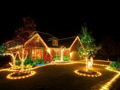 Christmas Lighting Tips shares tips on choosing, maintaining and installing the best outdoor Christmas lighting for your home. shares tips on choosing, maintaining and installing the best outdoor Christmas lighting for your home. Outside Christmas Decorations, Christmas Lights Outside, Hanging Christmas Lights, Christmas House Lights, Decorating With Christmas Lights, Noel Christmas, Holiday Lights, Holiday Decor, Outdoor Decorations