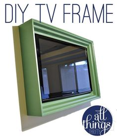 I love the idea of framing a wall mounted TV. Clever idea and tutorial by  Williams Williams Baird Ulrich