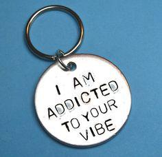 Vibe Handstamped keyring UK Boyfriend gift by BeesHandStampedGifts