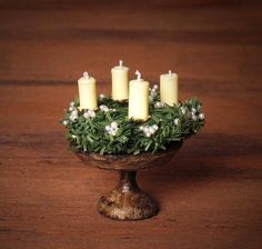 Miniature Advent Wreath on Wooden Stand for your Dollhouse by DinkyWorld on Etsy