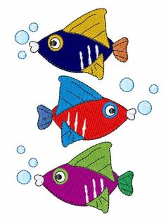 Colorful Fish embroidery design from embroiderydesigns.com Embroidery Services, Custom Embroidery, Embroidery Thread, Embroidery Applique, Machine Embroidery Designs, Embroidery Patterns, Applique Monogram, Colorful Fish, Sea Fish