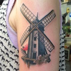 #maxbrain #traditional #tattoo #windmill #mulinoavento #sunset #tramonto