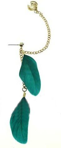 Green Feather with Chain Ear Cuff Earring