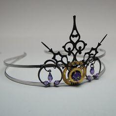 Steampunk tiara with tanzanite Swraovski crystals and vintage clock parts v2 via Etsy
