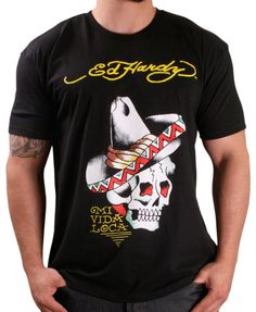 fa7e2263 Ed Hardy By Christian Audigier Men's Crew Neck Sombrero Skull T-Shirt Black  Size M - Christian Audigier has quickly become Rock Royalty through the  tattoo ...