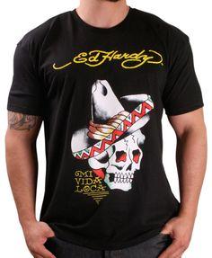 948c85182 Ed Hardy Sombrero Men's Crew Neck T-Shirt Shirt Designs, Tattoo Designs,  Christian