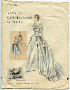 1950s Wedding Gown Pattern Vogue Couturier Design 814 Misses Wedding Evening Gown Vintage Sewing Pattern Bust 34
