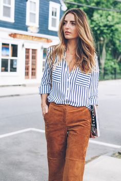 Chic Style for the work week in suede pants from Express.
