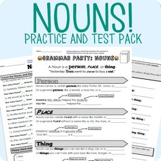 *Free* This easy to use worksheet explains the basics of what noun is (person, place, or thing) and also delves into the specific and general forms that nouns can take. Additionally it teaches the details of seen and unseen nouns. Also included is a paired assessment that tests the students knowledge of what is and isn't a noun.