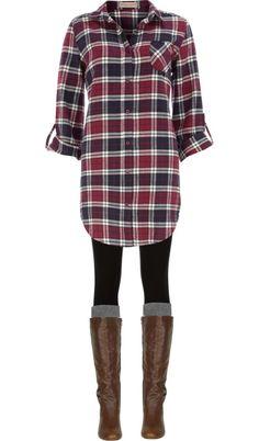 Long plaid boyfriend shirt, leggings, knee socks and boots.  Comfy.