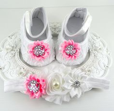 Baby Girl Baptismal Shoes and Headband Set, Newborn Baby Girl Shoes, Baby Accessories, Shower Gift, Gift for Baby by BabyLaylaLand on Etsy