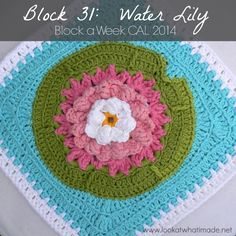 Check out this water lily square for Look What I Made's CAL this month.  A great project to use with Modern Baby colors. Alternating with solid color squares for a water garden themed afghan.