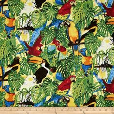 Rainforest Romp Birds Multi from @fabricdotcom  Designed by Linda Ludovico and Deborah Edwards for Northcott Fabrics, this cotton print fabric is perfect for quilting, apparel and home decor accents. Colors include black, brown, shades of red, shades of blue, shades of green, orange, yellow, grey and off-white.